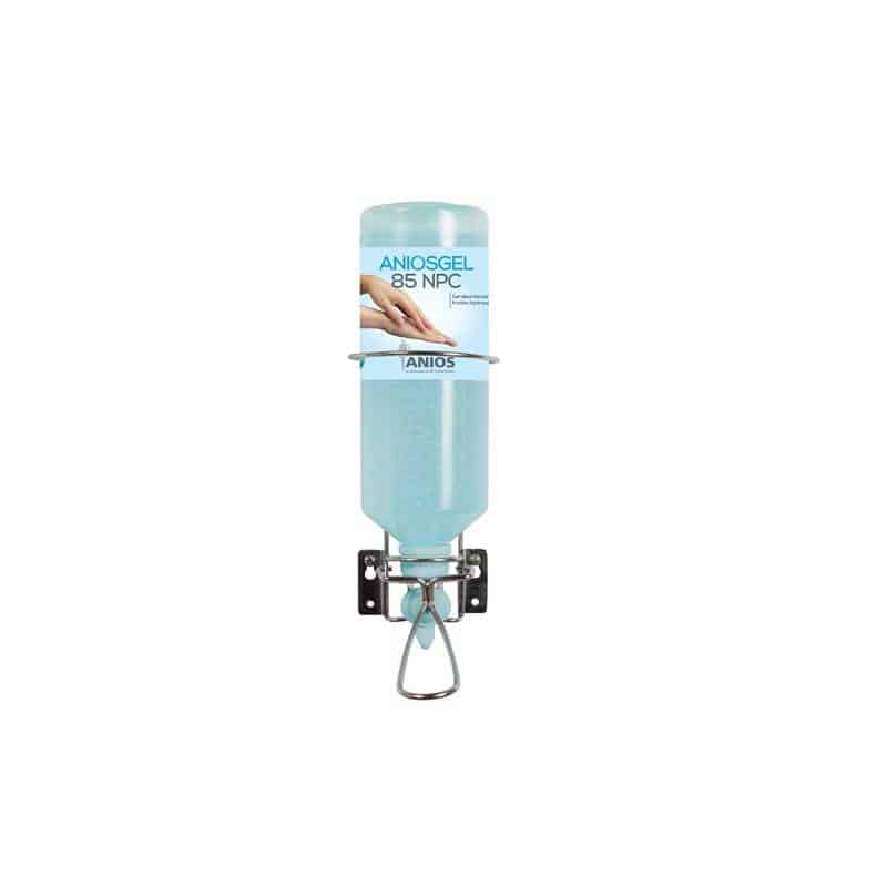 Support mural Inox pour flacon 1 L Airless (commande au coude)